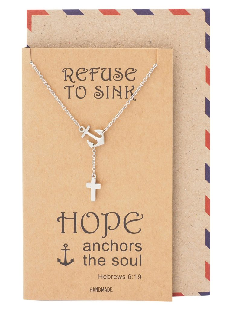 Jermaine Cross Lariat Anchor Necklace, Christian Jewelry, Sympathy Gifts