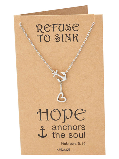 Hope Heart Lariat Anchor Necklace