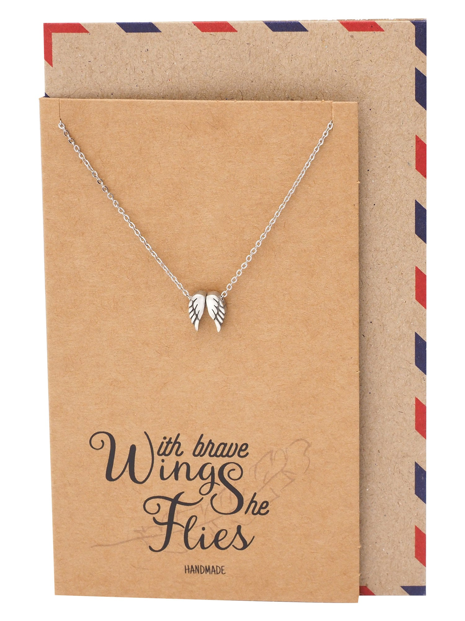 Afriel Angel Wing Necklace, Graduation Gifts with Greeting Card, Gifts for Her - Quan Jewelry