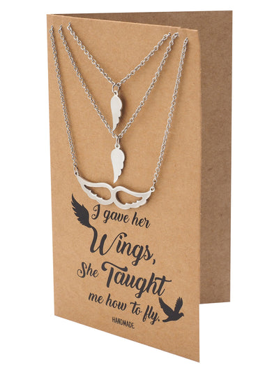Micaela Mother Daughter Gifts for Mom Wings Set of 3 Necklaces