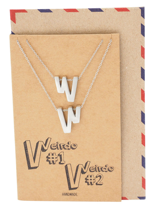 Dianna W Pendant Set of 2 Necklaces for Women, Funny Gifts for Best Friends with Greeting Card - Quan Jewelry