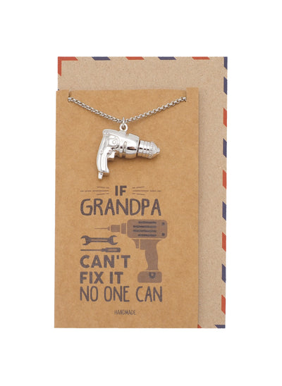 Holemaker Power Drill Cremation Pendant Necklace, Silver Tone, Daddy Dada Grandfather Hero Gifts for Fathers with Greeting Card