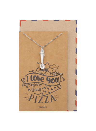 Jocelyn Pizza Cutter Cremation Ash Holder Pendant Necklace, 100% Handmade - Silver Tone