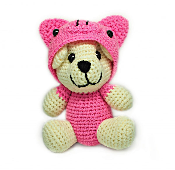 Avery Piggy Crochet Teddy Bear, Handmade Teddy Bears - Quan Jewelry