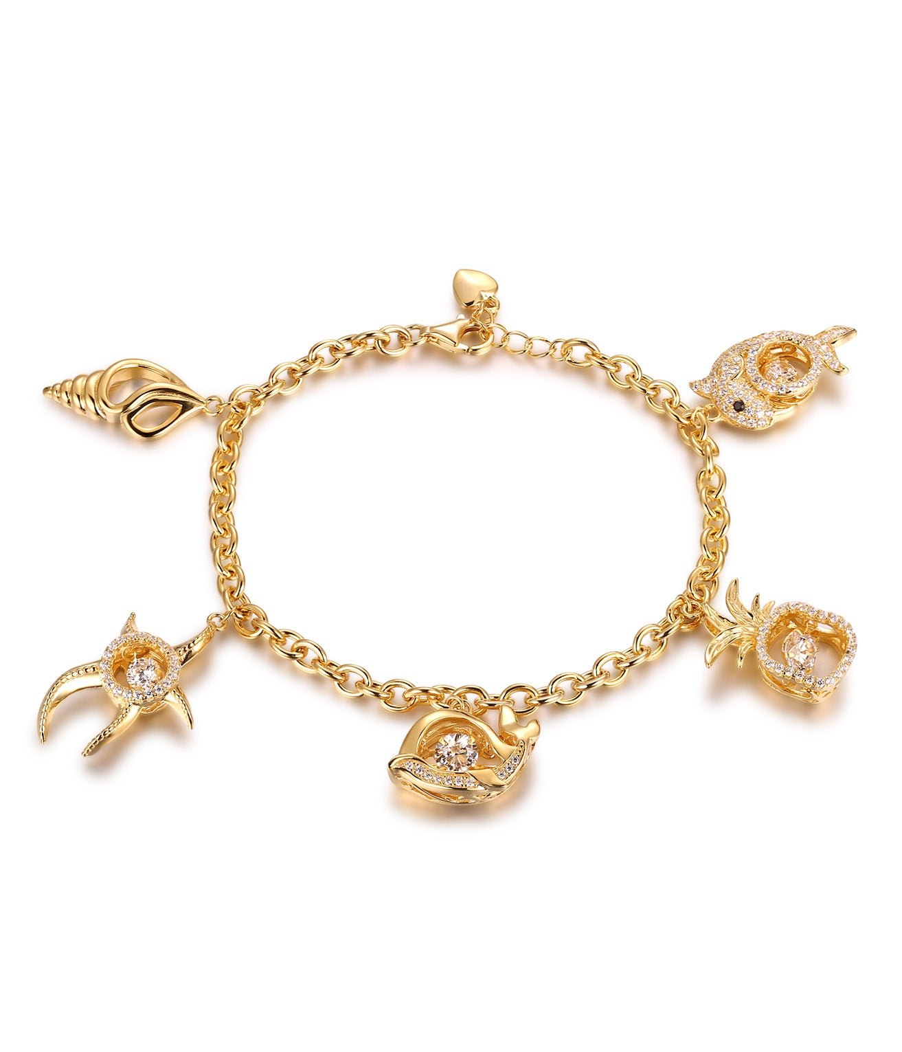 Kira Charm Bracelet, Starfish, Dolphin, Seashell Charms, 18K Yellow Plating