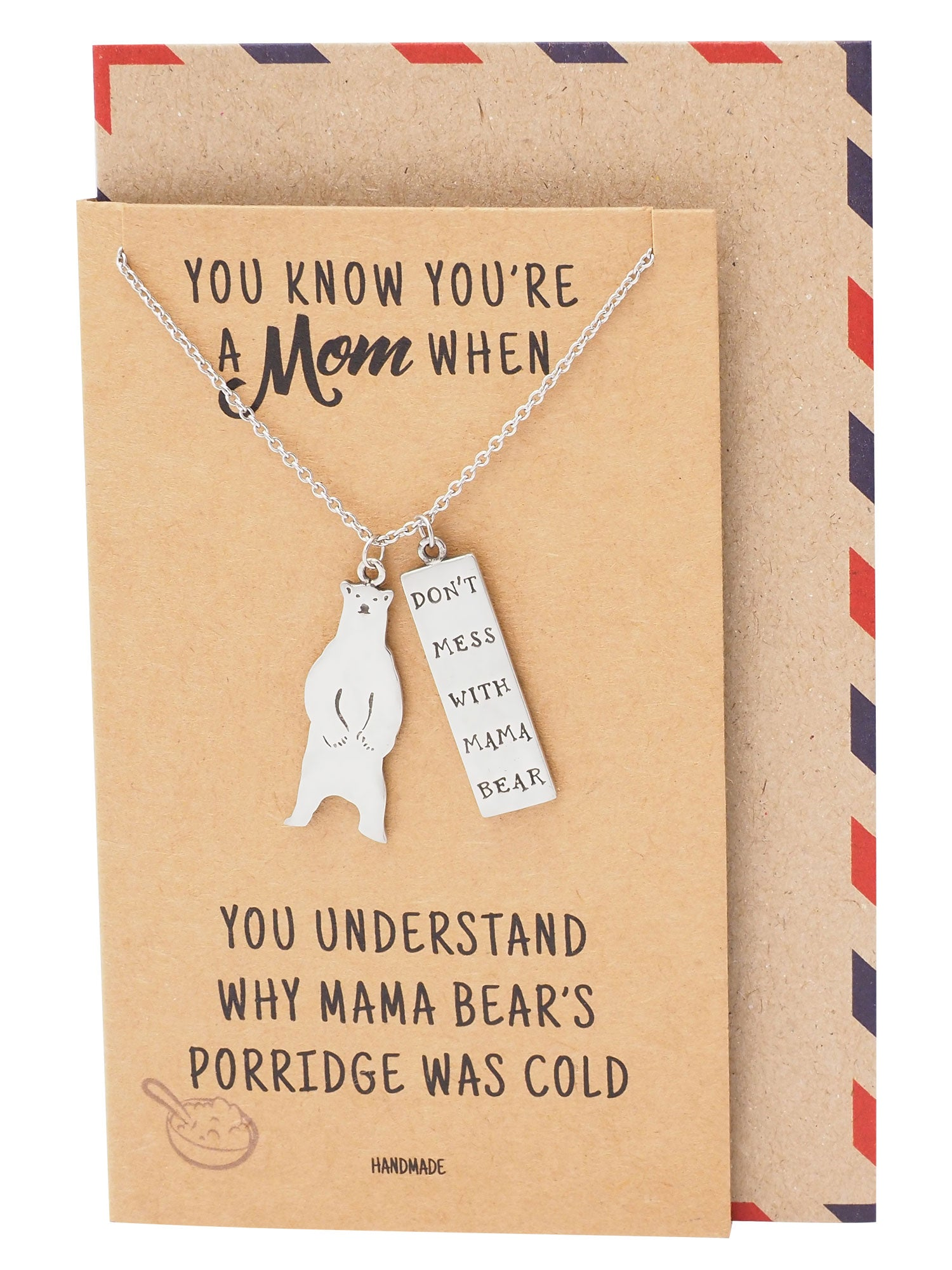 Laurice Mother Necklace with Mama Bear Pendant, Perfect Gift for Mother's Day with Greeting Card