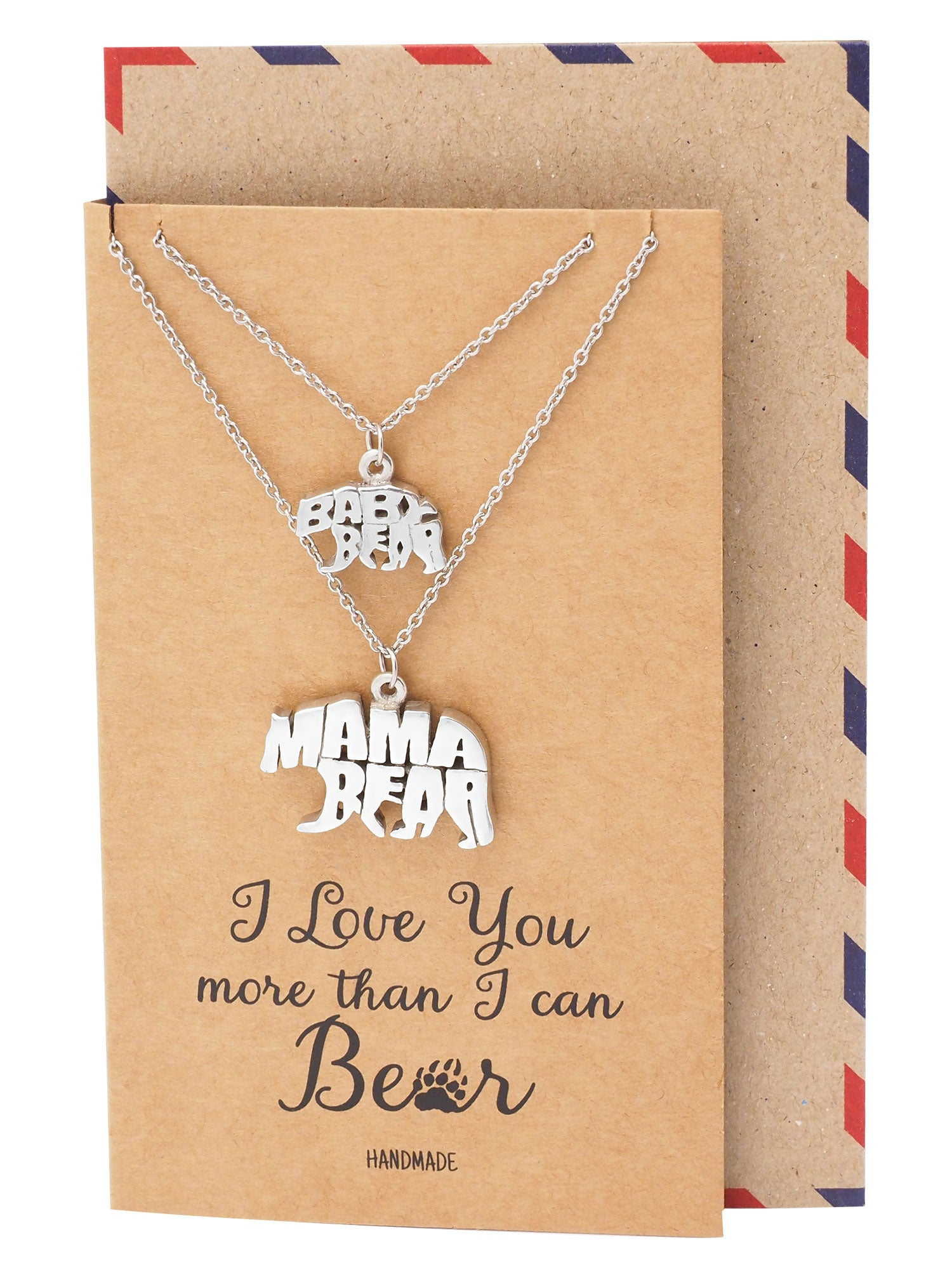 Bryony Mama and Baby Bear Pendants 2 sets of Necklace, Mother and Daughter Jewelry - Quan Jewelry