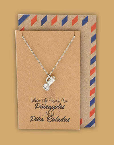 Diane Pineapple Necklace with Blender Charm Pendant for Women, Inspirational and Motivational Quote - Quan Jewelry