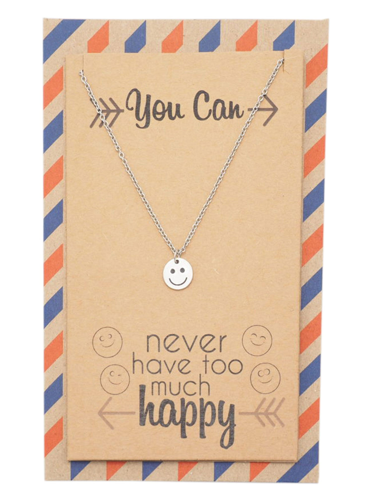 "Kelsey ""You Can Never Have Too Much Happy"" Necklace, Inspirational Gifts for Women - Quan Jewelry"