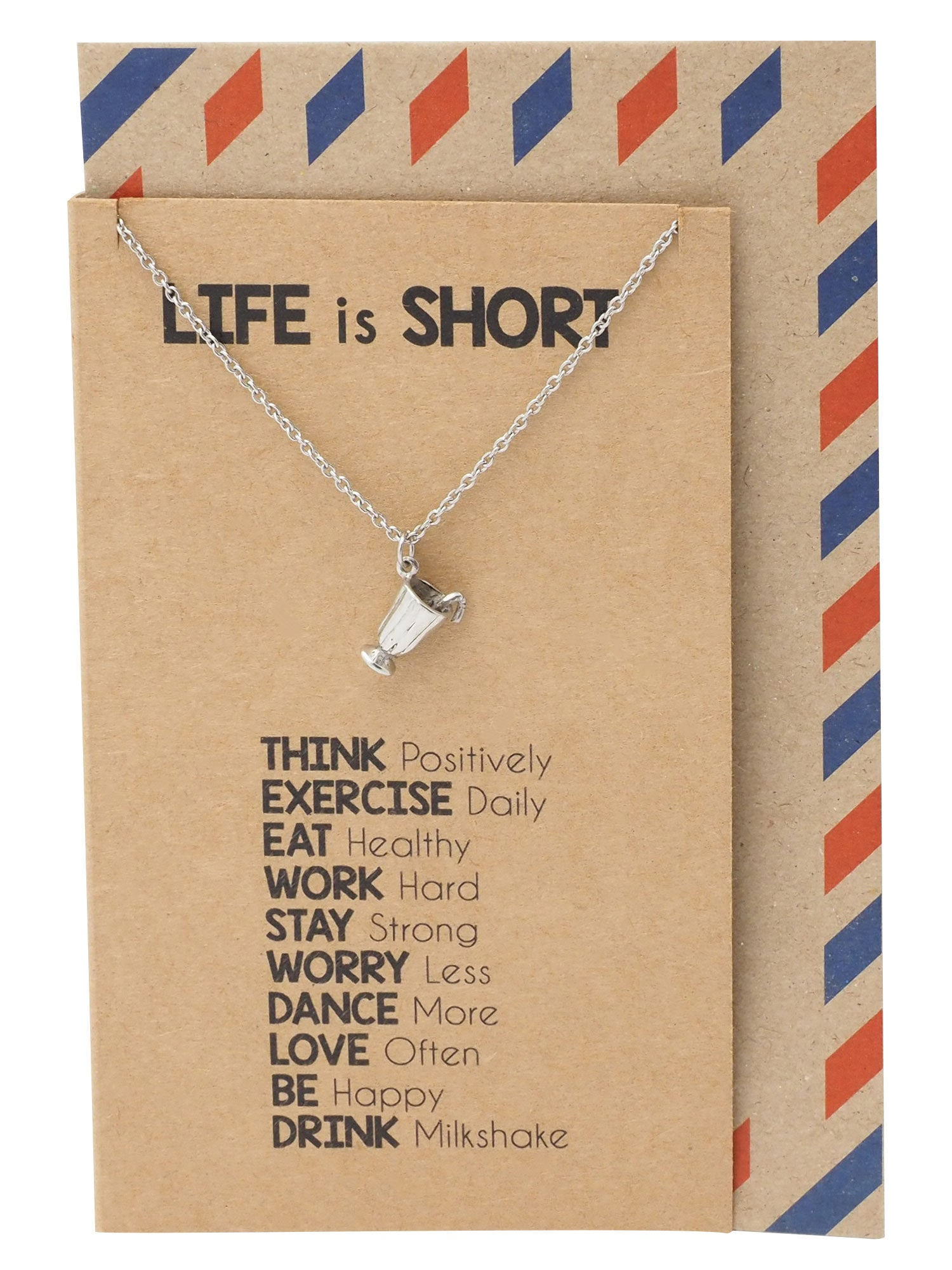 Sadie Life is Short Drink Milkshake Necklace, Best Friend Gifts, Inspirational Jewelry Greeting Card