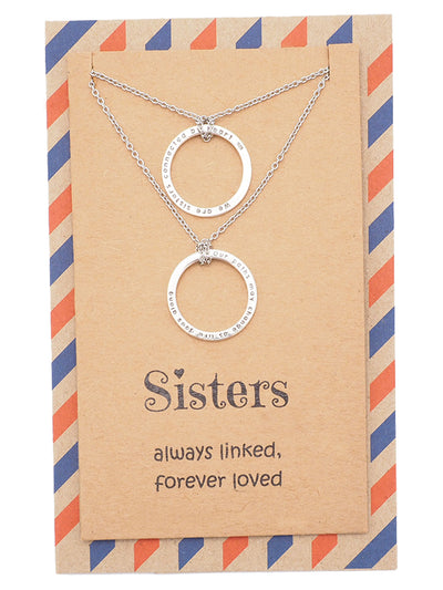 Rosanne Sisters Set of 2 Matching Necklaces with Engraved Ring Pendants