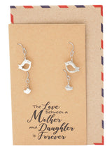 Rhyza Mother And Daughter Earrings, Gifts for Mom Bird Earrings Set For 2 With Greeting Card