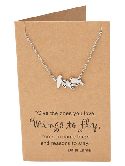 Galina Little Birds on Branch Pendant Necklace for Women