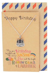 Athena A Very Happy Birthday Necklace, Cake Jewelry and Greeting Card - Quan Jewelry