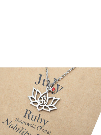 Margaret Lotus Flower July Birthstone Necklace for Women, OM Symbol, Birthday gifts for Women