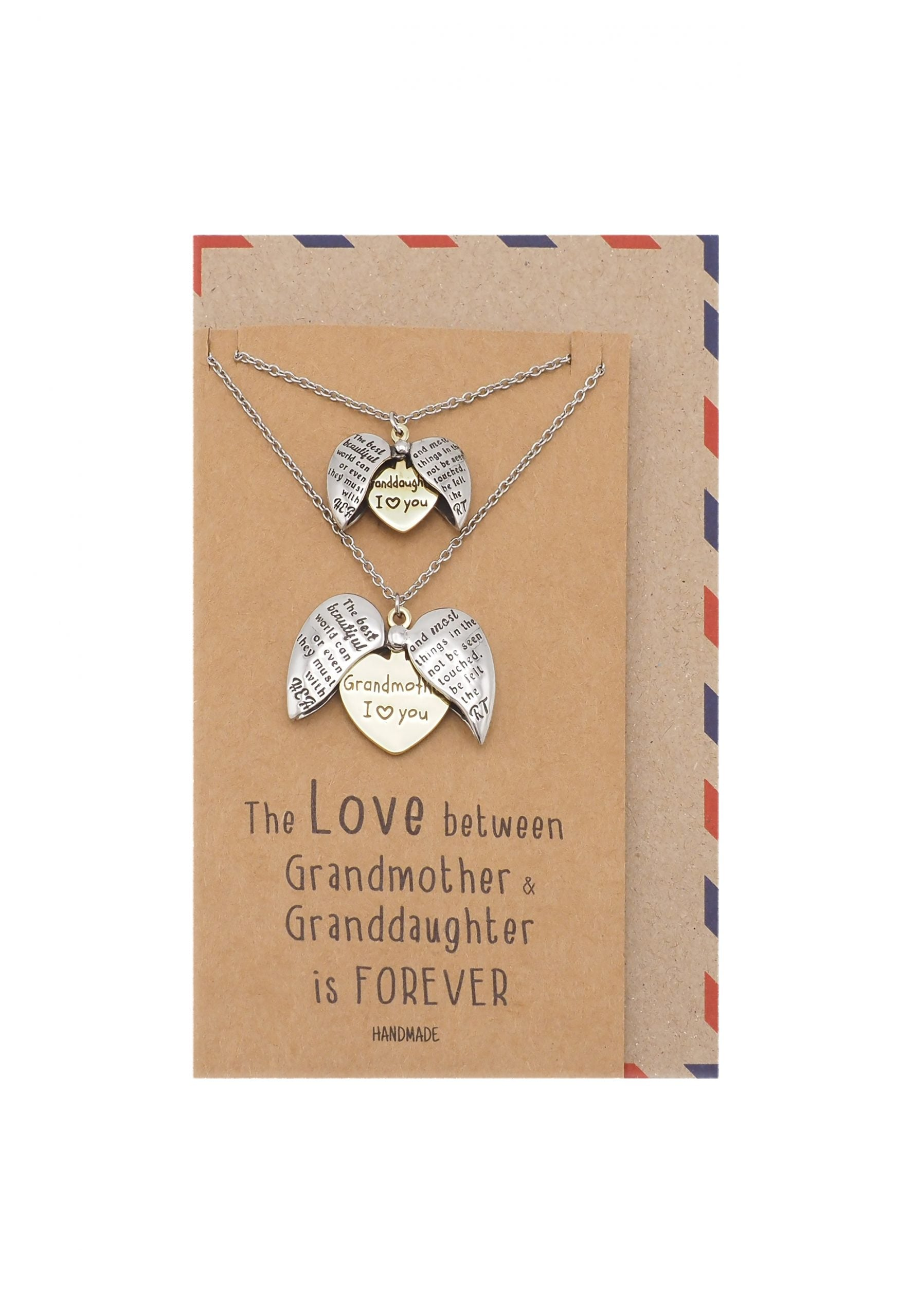 Helen Grandmother Granddaughter Locket Pendant Necklace, Set for 2 with Greeting Card
