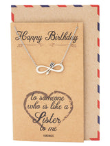 Eyna Birthday Infinity Arrow Pendant Necklace, Friendship Gifts, Birthday Gifts, with Greeting Card - Quan Jewelry