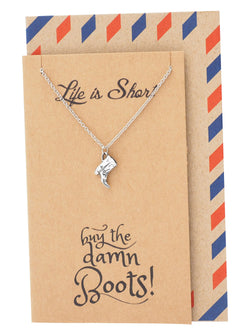 Sierra Boot Jewelry Necklaces for Women, Funny Birthday Cards