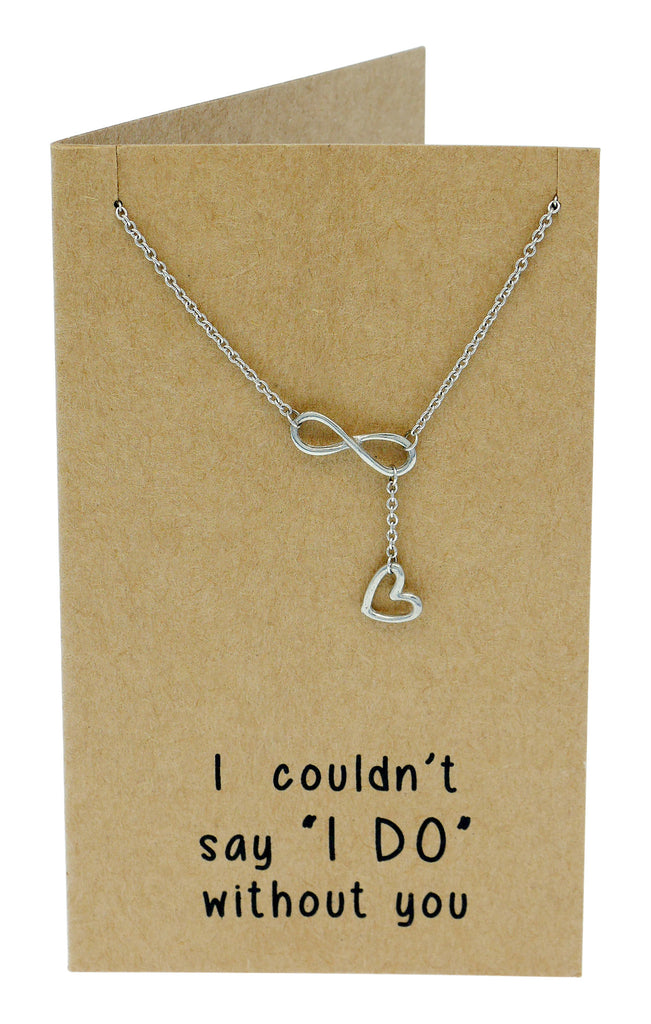 Kate Infinity Heart Lariat Necklace, Bridesmaid Gifts, Sister Jewelry,  - Quan Jewelry - 5
