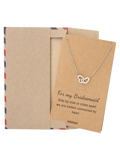 Lilia Bridesmaid Gifts Interlocking Hearts Necklace, Bridesmaid Jewelry