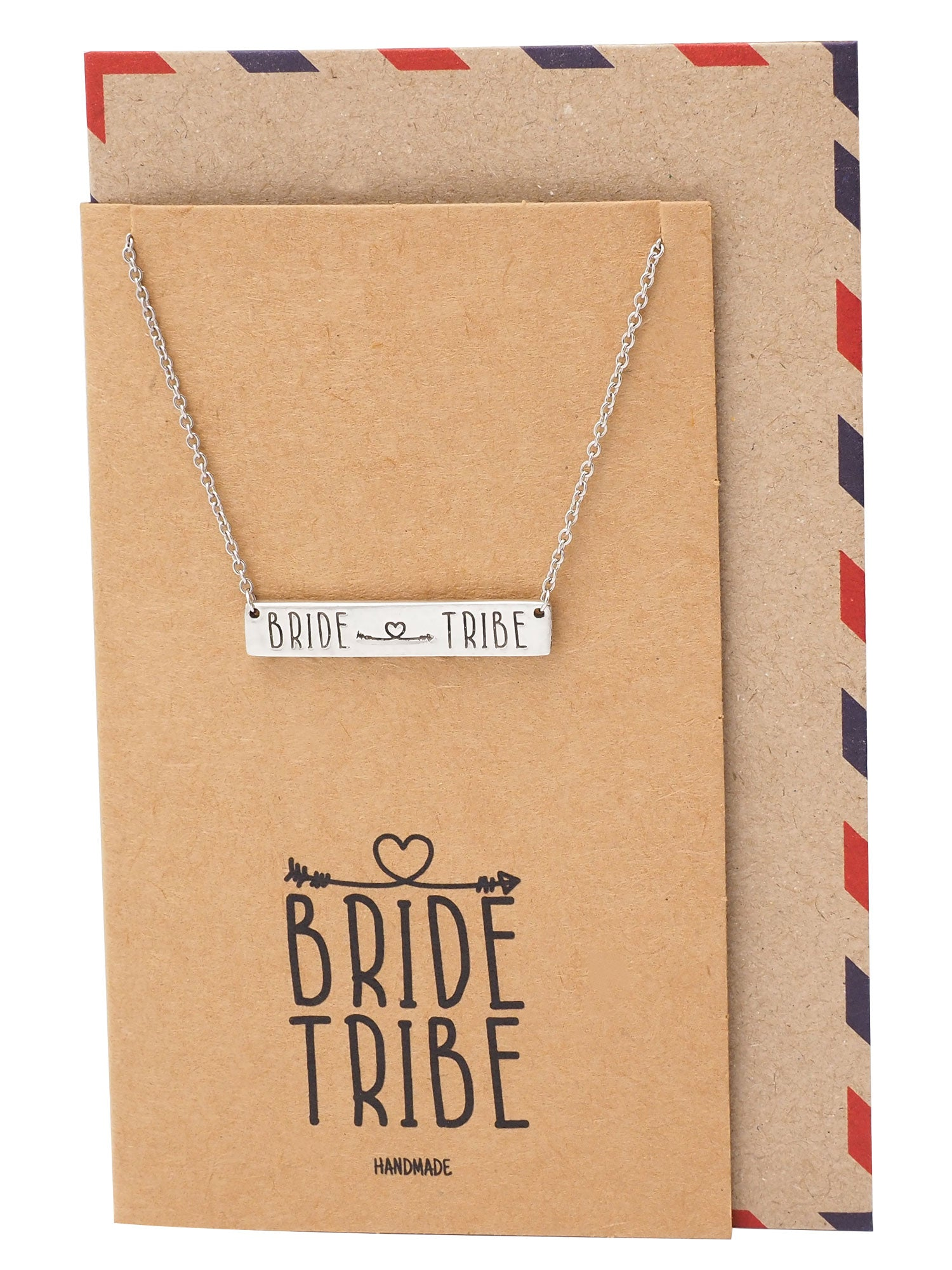 Kirsten Bar Pendant Necklace with Bride Tribe and Arrow Heart Inscription