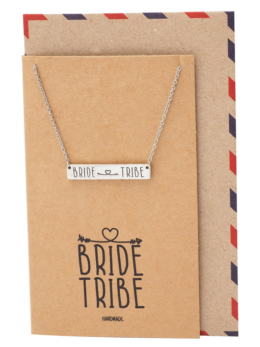 Kirsten Bar Pendant Necklace with Bride Tribe and Arrow Heart Inscription, Bar Necklace for Women