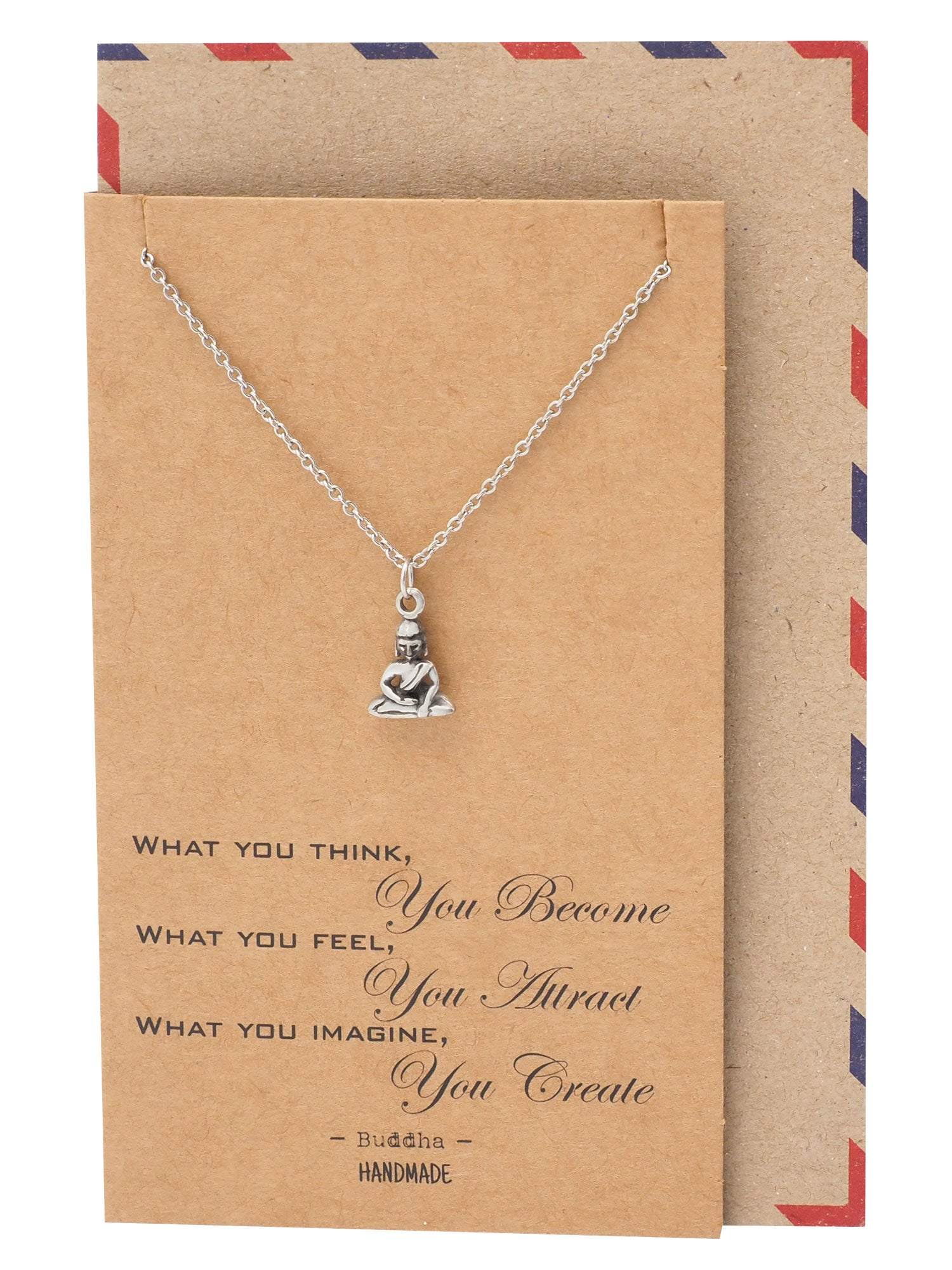 Helena Buddha Necklace Inspirational Quotes Jewelry Greeting Card