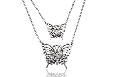 Audra Mother Daughter Lotus FLower in Butterfly, Set of 2 Pendant Necklace, Gifts for Women with Greeting Card