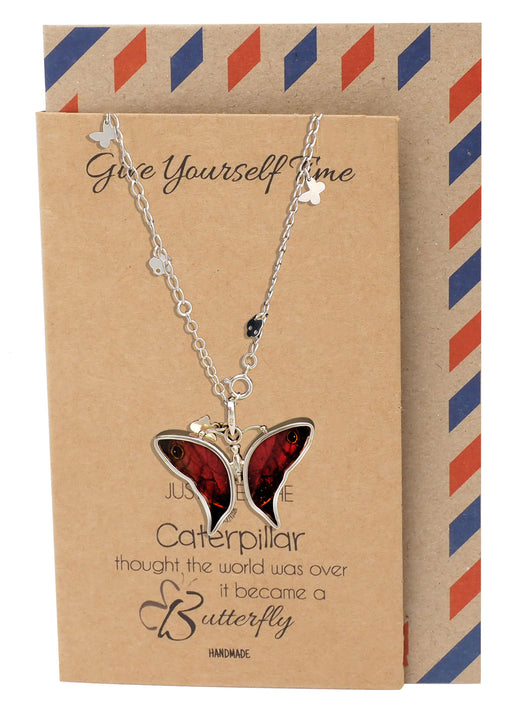 Briana Butterfly Necklace 925 Sterling Silver, Real Butterfly Wings Charm - Quan Jewelry