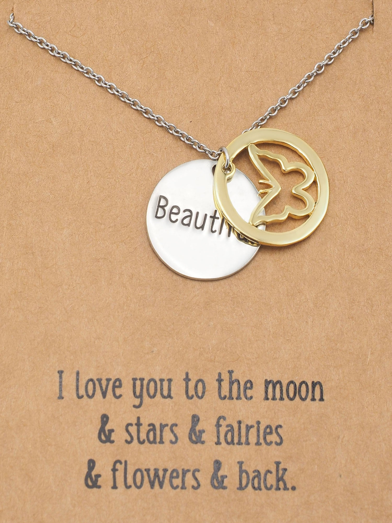 CS-DB Inspiring Message Believe Yourself Silver Necklaces Pendants Top Stylish