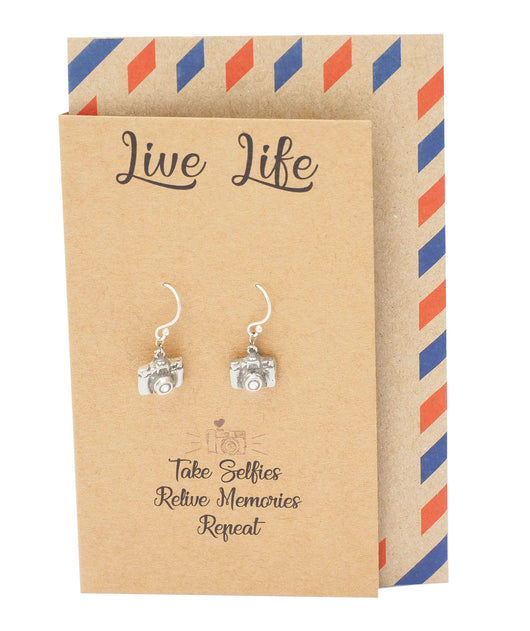 Addy Cute Camera Earrings for Women, Gifts for Photographer, Selfie Lovers and a Greeting Card - Quan Jewelry