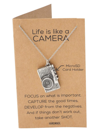 Marley Mini Camera Necklace, Photography Gifts, Micro SD Card Holder with Inspirational Quote