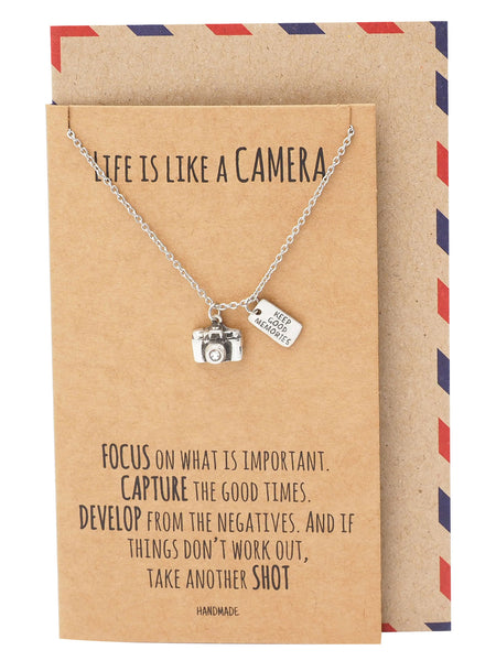 Ida Cute Camera Miniature Pendant Necklace for Women, Selfie Lovers, With Inspirational Quote Card - Quan Jewelry