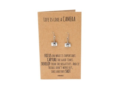 Sheena Mini Camera Engraved Earrings for Women, Photography Gift, Selfie Lover, Inspirational Quote