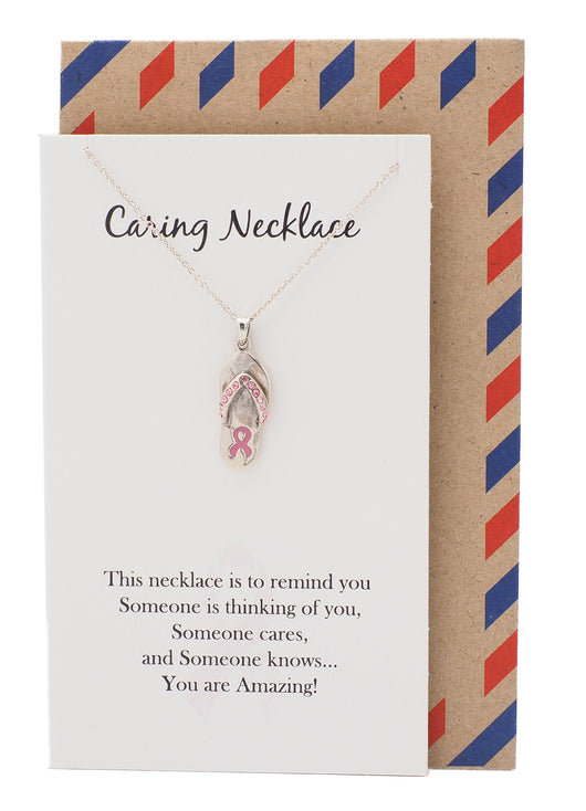Caring Necklace, Cancer Awareness Jewelry - 10% donated to NBCF - Quan Jewelry