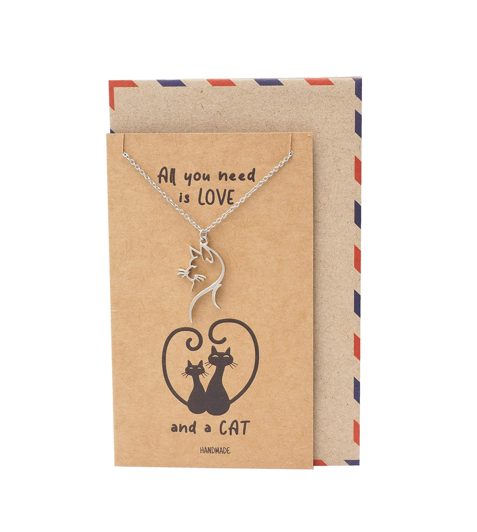 Raelynn Cat Head Pendant Necklace Quotes Greeting Card, Gifts for Cat Lovers