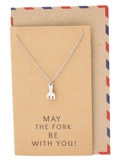 Mariele Fork Charm Necklace, Get Well Card, Gift for Chefs