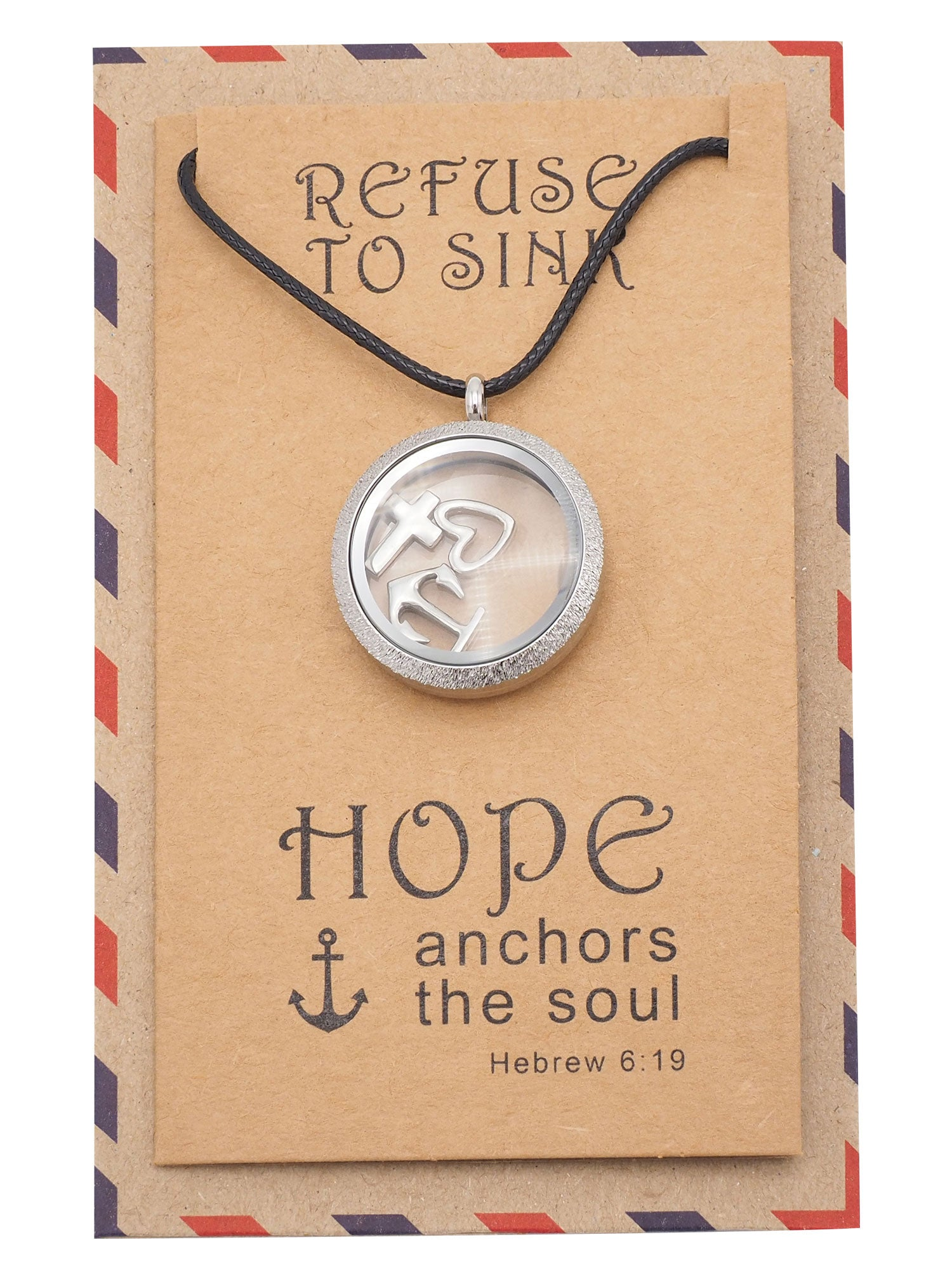 Roslyn Anchor Locket Necklace with Anchor, Cross, and Heart Charms