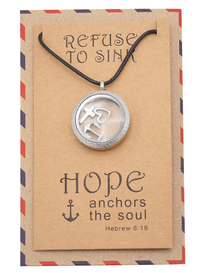 Roslyn Anchor Locket Necklace with Anchor, Cross, and Heart Charms, Christian Jewelry, Sympathy Gift