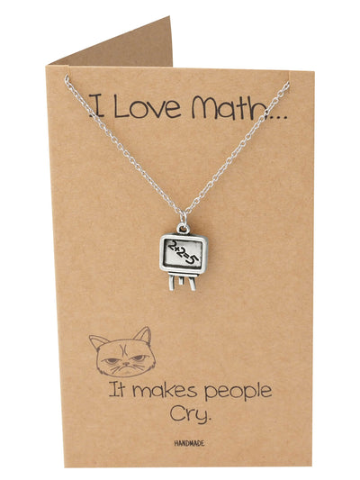 Reema I Love Math Necklace, Gifts for Friends, Funny Christmas Gifts