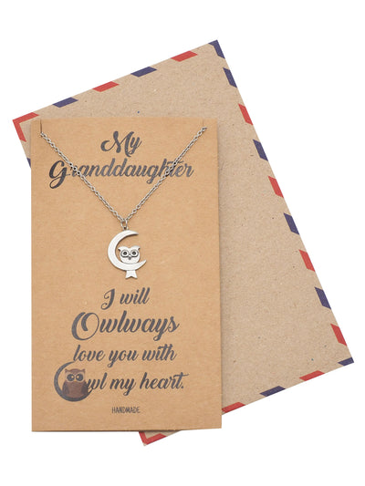 Clara Owl on Moon Pendant Necklace, Granddaughter Necklace with Greeting Card