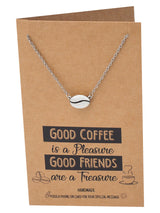 Geneva Coffee Bean Pendant Necklace, Gifts for Coffee Lover, with Inspirational Quote - Quan Jewelry