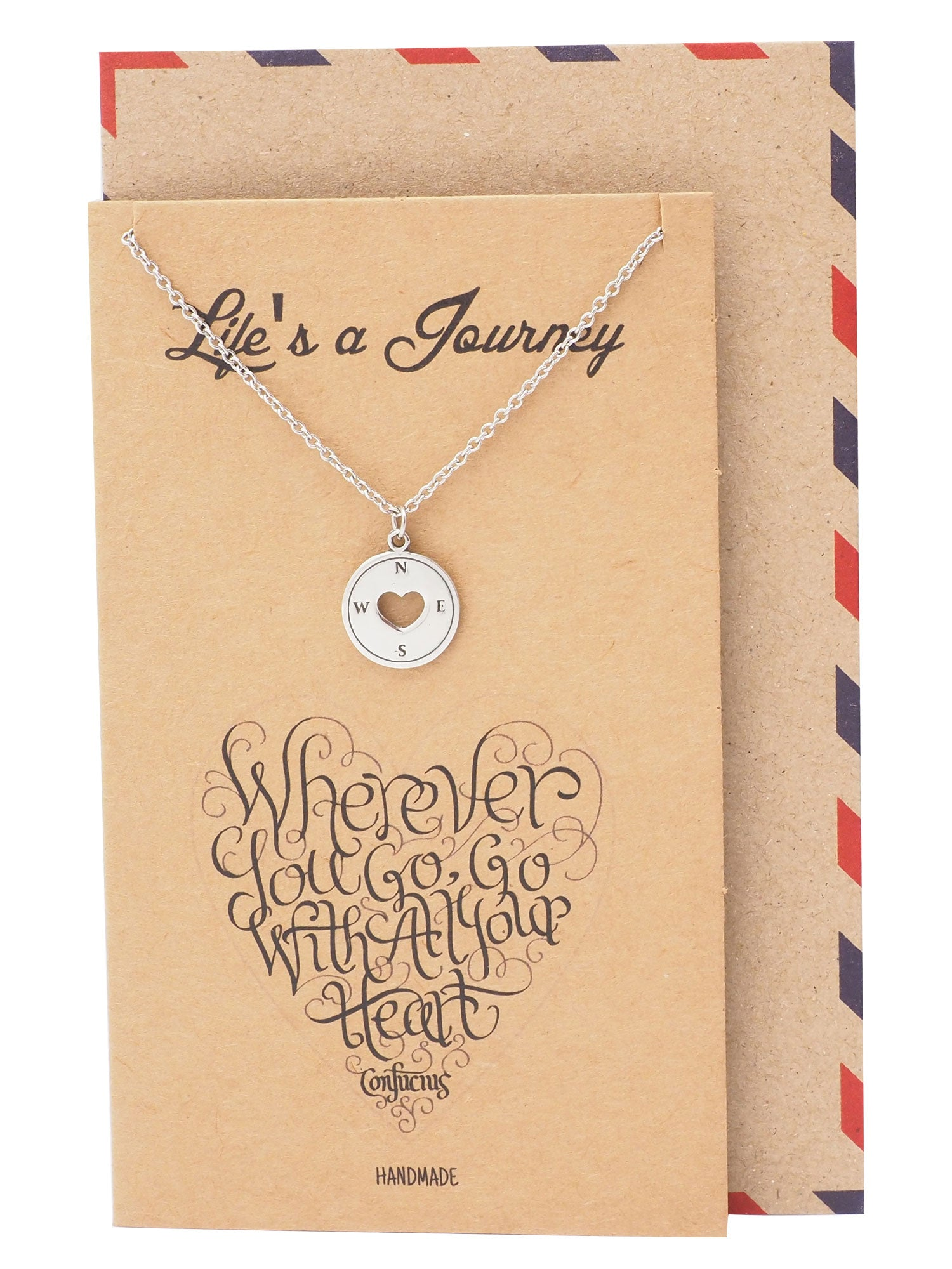 Samara Graduation Gifts Compass Necklace Inspirational Jewelry