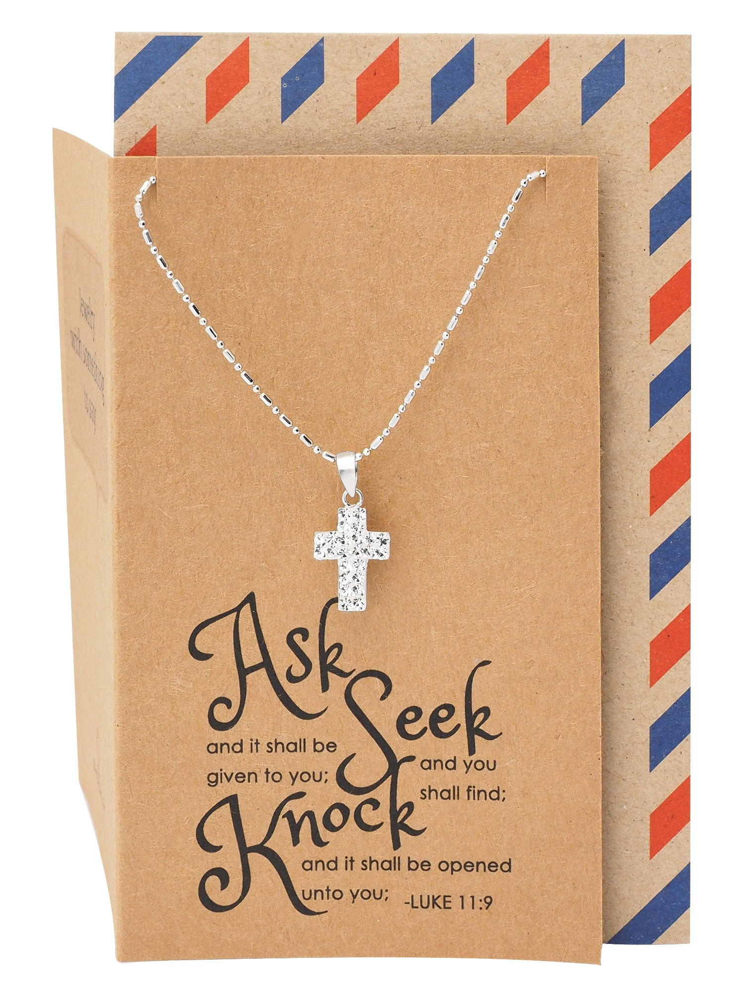 Lea Religious Gifts Cross Necklace with Inspirational Quote