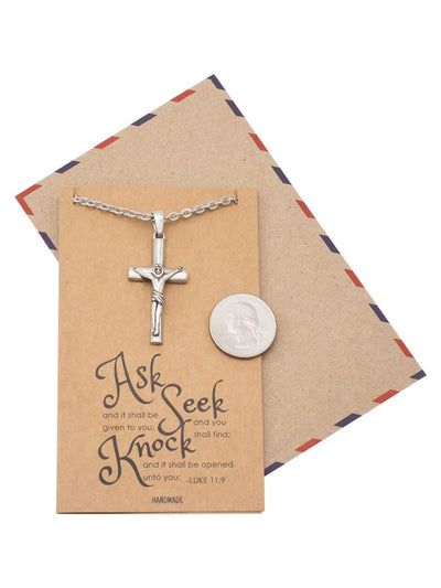 Kyrie Cross Pendant, Religious Jewelry, Gift for Him, Inspirational Jewelry with Inspirational Card
