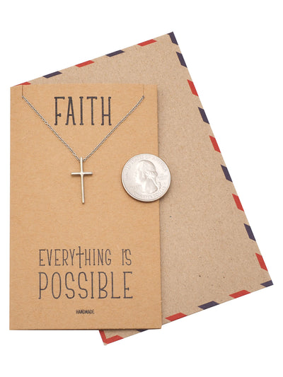 Faith Cross Pendant, Religious Jewelry, Gift for Him, Inspirational Jewelry with Inspirational Card - Quan Jewelry