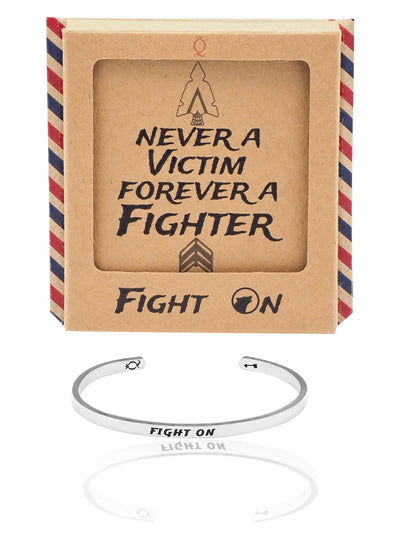 Lyra Fight On Wolf Cuff Bracelet, Inspirational Jewelry Quote and Greeting Card