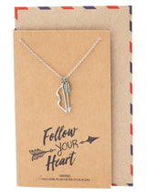 Elena Bow and Arrow Pendant Necklace, Gifts for Friends with Inspirational Quote on Greeting Card