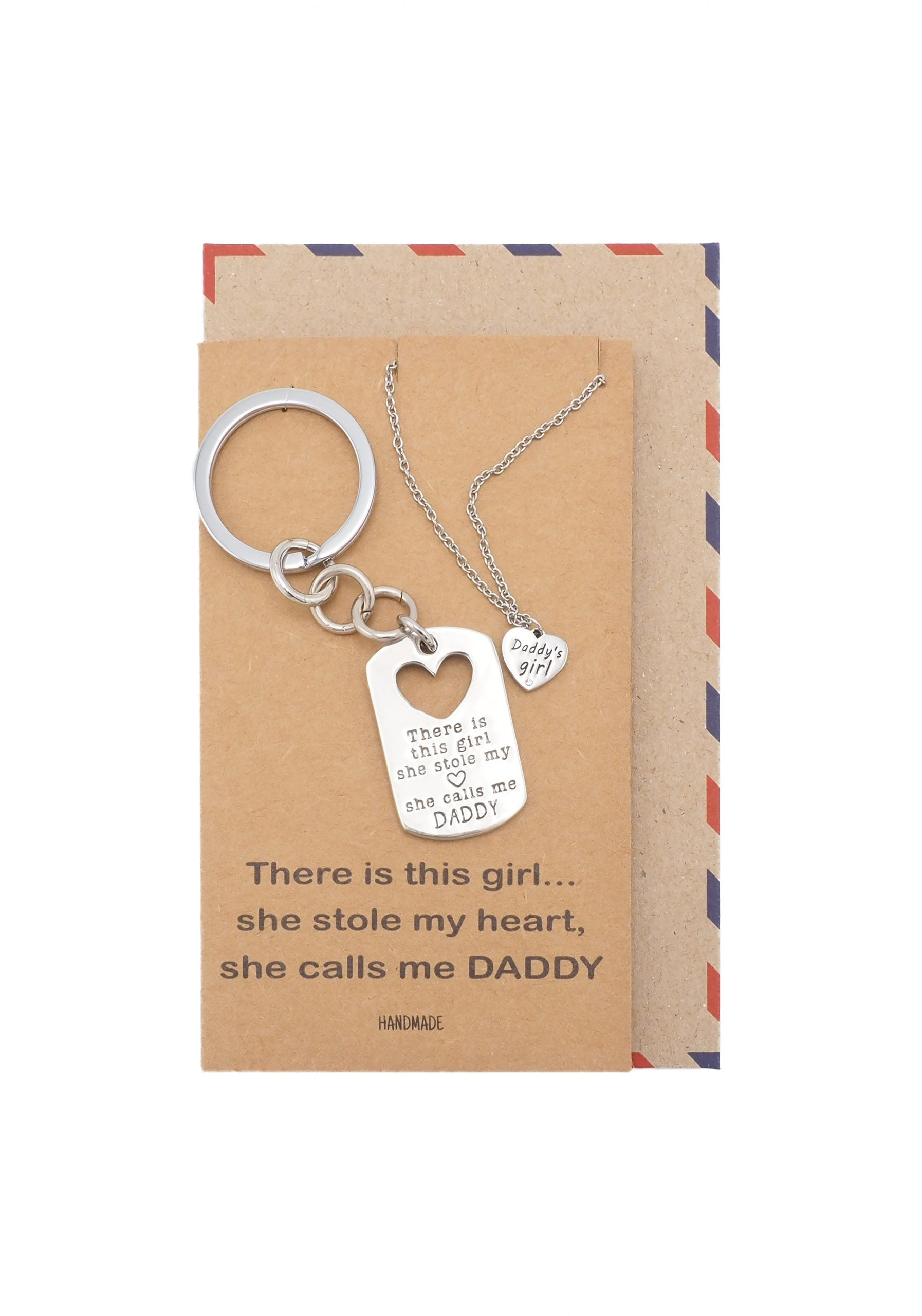 Earl Daddy's Girl Set, Engraved Heart Key chain and Necklace, Gift for Father, with Quote Card