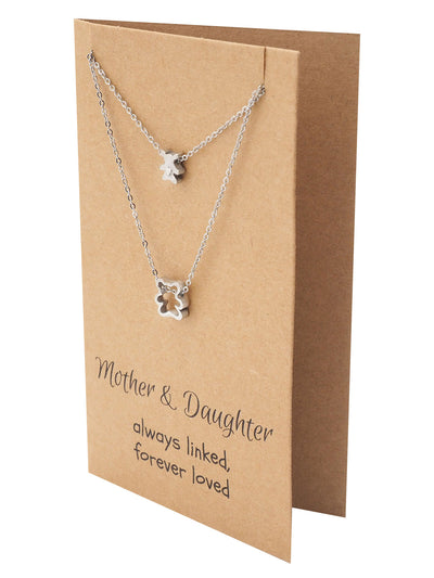 Arianna Mother Daughter Necklace with Matching Bear Pendant - Quan Jewelry